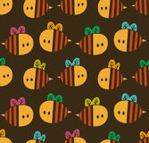 Seamless pattern with cartoon bees for design fabric, backgrounds, wrapping paper Royalty Free Stock Photography