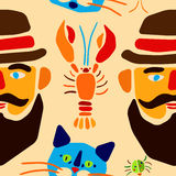 Seamless pattern. Cartoon beetle, crayfish, cat and man with mustache. Vector illustration. Stock Image