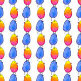 Seamless pattern with cartoon birds. Hand-drawn background. Vector illustration. Stock Images