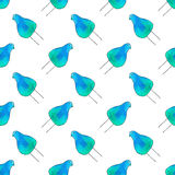 Seamless pattern with cartoon birds. Hand-drawn background. Vector illustration. Royalty Free Stock Photo