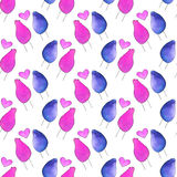 Seamless pattern with cartoon birds in love. Hand-drawn background. Vector illustration. Stock Photo