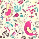 Seamless pattern cartoon birds and plants Stock Photos