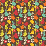 Seamless pattern with cartoon birds. Royalty Free Stock Photography