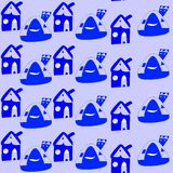 Seamless pattern with cartoon blue houses. Childish drawing. Royalty Free Stock Images