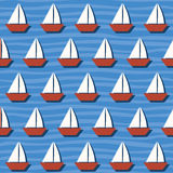 Seamless Pattern with Cartoon Boats on the Sea. Vector Royalty Free Stock Photos