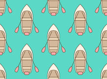Seamless pattern of cartoon boats top view Stock Image