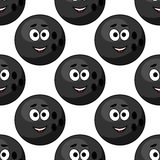 Seamless pattern of cartoon bowling balls. With cute little faces in square format for sports design Stock Image