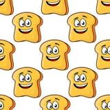 Seamless pattern of cartoon bread toast slices Stock Photo