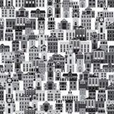 Seamless pattern with cartoon buildings Stock Photo