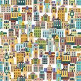 Seamless pattern with cartoon buildings Stock Photos