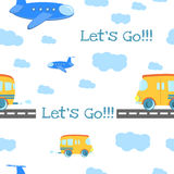 Seamless pattern Cartoon bus on the road Royalty Free Stock Photo