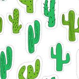 Seamless pattern with cartoon cactus decorated graphic elements. Green cactus  made in the form of stickers. vector illustration