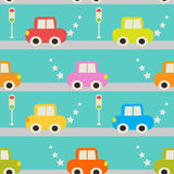 Seamless pattern with cartoon car. Stock Photography