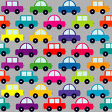Seamless pattern with cartoon cars Stock Photos