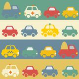 Seamless pattern with cartoon cars. Royalty Free Stock Photography