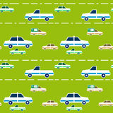 Seamless pattern with cartoon cars and road Stock Photo