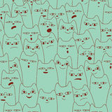 Seamless pattern with cartoon cat Royalty Free Stock Photos