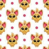 Seamless pattern with cartoon cat Royalty Free Stock Photos