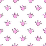 Seamless pattern with cartoon cat paws. Hand-drawn background. Vector illustration. Stock Photos