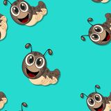 Seamless pattern with cartoon caterpillars Royalty Free Stock Images
