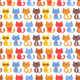 Seamless pattern with cartoon cats Stock Images
