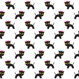 Seamless pattern with cartoon cats. Royalty Free Stock Photo