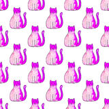 Seamless pattern with cartoon cats. Hand-drawn background. Vector illustration. Royalty Free Stock Photos