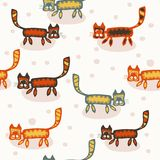 Seamless pattern with cartoon cats. Stock Image