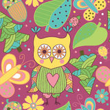 Seamless pattern with cartoon characters Stock Photos