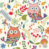 Seamless pattern with cartoon characters Stock Images