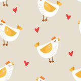 Seamless pattern with cartoon chicken and hearts on beige background. Ornament for textile and wrapping. Vector Royalty Free Stock Image