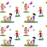 Seamless pattern with cartoon childrenkids Stock Photos