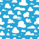 Seamless pattern with cartoon clouds Royalty Free Stock Photo