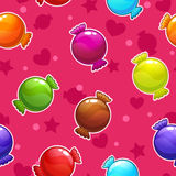 Seamless pattern with cartoon colorful candies Stock Image