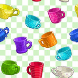 Seamless pattern with cartoon colorful cups Stock Photo