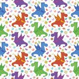 Seamless pattern, cartoon colorful Dragons Stock Images