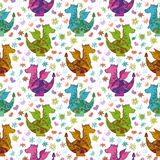 Seamless pattern, cartoon colorful Dragons Stock Photo