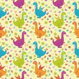 Seamless pattern, cartoon colorful Dragons Royalty Free Stock Photo