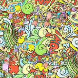Seamless pattern of cartoon colorful party objects hand drawn Stock Photo