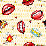 Seamless pattern cartoon comic super speech bubble labels with text, sexy open red lips with teeth, retro cartoon vector. Pop art illustration, halftone dot Royalty Free Stock Photography