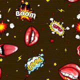 Seamless pattern cartoon comic super speech bubble labels with text, sexy open red lips with teeth, retro cartoon vector. Pop art illustration, halftone dot Stock Image