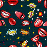 Seamless pattern cartoon comic super speech bubble labels with text, sexy open red lips with teeth, retro cartoon vector. Pop art illustration, halftone dot Stock Photos