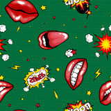 Seamless pattern cartoon comic super speech bubble labels with text, sexy open red lips with teeth, retro cartoon vector. Pop art illustration, halftone dot Stock Images
