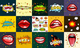 Seamless pattern cartoon comic super speech bubble labels with text, sexy open red lips with teeth, retro cartoon vector. Pop art illustration, halftone dot Royalty Free Stock Images