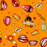 Seamless pattern cartoon comic super speech bubble labels with text, sexy open red lips with teeth, retro cartoon vector. Pop art illustration, halftone dot Royalty Free Stock Image