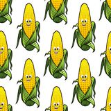 Seamless pattern of cartoon corn on the cob Royalty Free Stock Photography