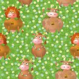 Seamless pattern, cartoon cows on a meadow Stock Photo