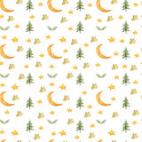 Seamless pattern with cartoon crescent, stars and fir-tree. Stock Images