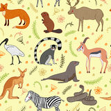 Seamless pattern with cartoon cute Animals vector set.  vector illustration hand-drawn style. Zebra, fox, beaver, antelope Stock Photography
