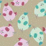Seamless pattern with cartoon cute blue bird. In pastel colors. Funny bird in childish style.   It can be used as wallpaper, desktop, printing, wrapping Royalty Free Stock Image
